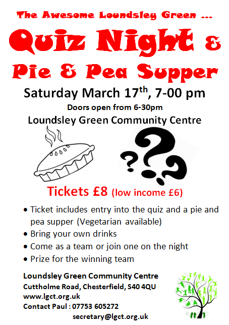 Pie and Peas Quiz Night @ Loundsley Green Community Centre | Chesterfield | United Kingdom