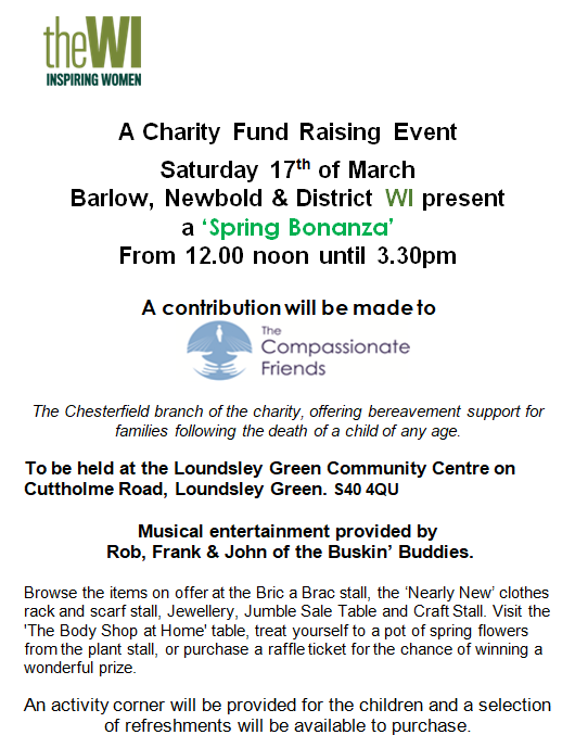 Charity Fund Raising Event: WI Spring Bonanza @ Loundsley Green Community Centre | England | United Kingdom