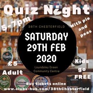 Quiz Night with Pie & Peas @ Loundsley Green Community Centre
